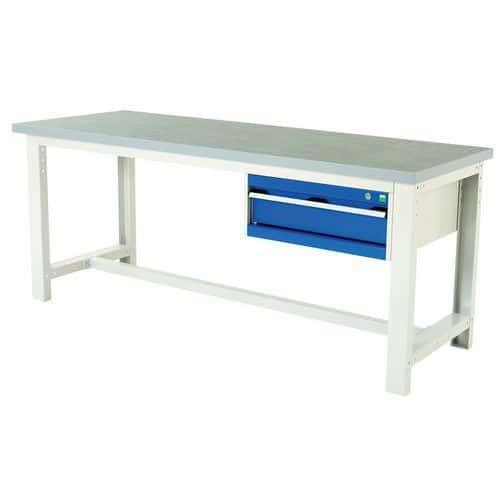 Arbetsbord Bott 200 cm linoleum med 1 låda