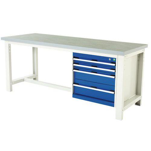 Arbetsbord Bott 200 cm linoleum med 4 lådor