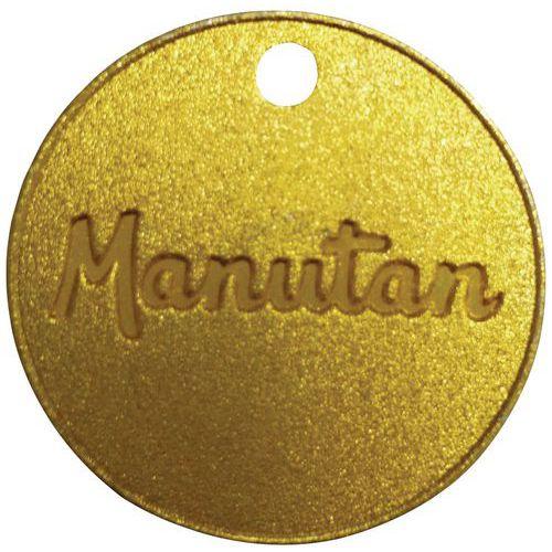 Numrerade polletter från 001 till 100 mässing Manutan