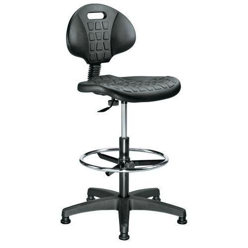 Arbetsstol Manutan Form hög, med fotring och fötter