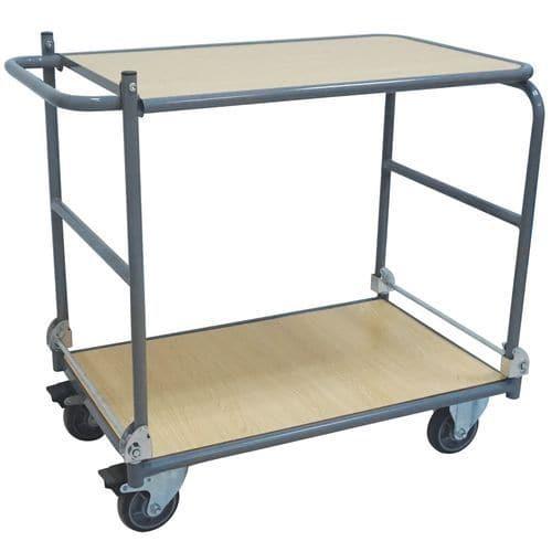 Chariot pliant 2 plateaux - Capacité 150 kg - Manutan