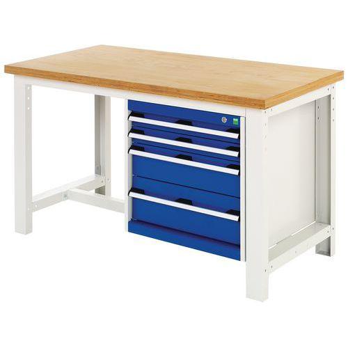 Arbetsbord Bott 200 cm plywood med 4 lådor