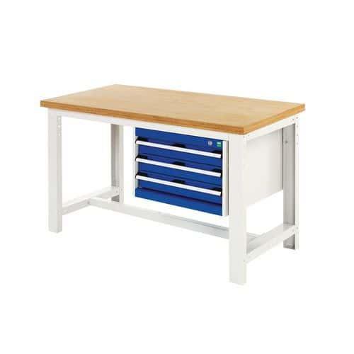 Arbetsbord Bott 200 cm linoleum med 3 lådor
