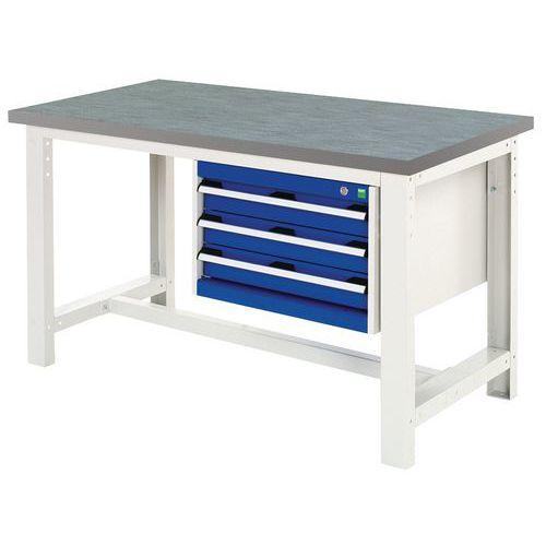 Arbetsbord Bott 150 cm linoleum med 3 lådor