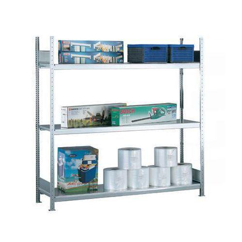 Bredfackshylla Easy-Fix: Grundsektion med stålhyllor