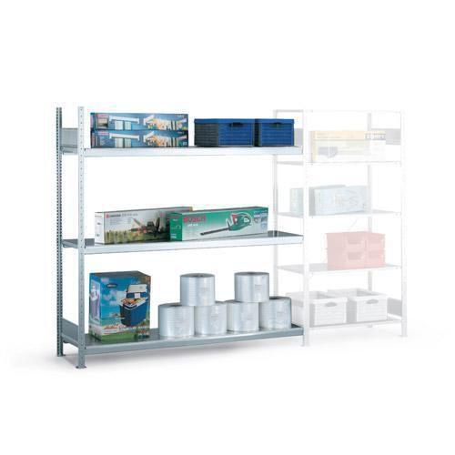 Bredfackshylla Easy-Fix: Påbyggnadssektion med stålhyllor